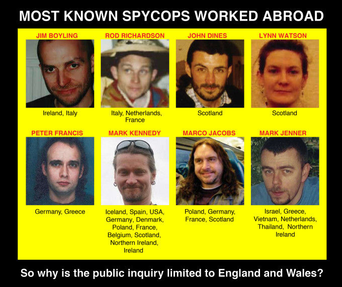 Most Known Spycops Worked Outside England & Wales