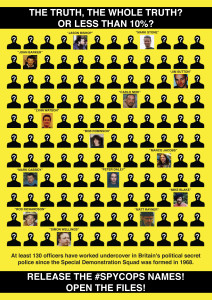 Poster of 14 exposed spycops among 140 silhouettes