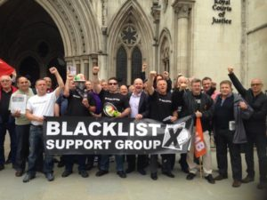 Blacklisted workers outside the High Court