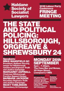 Poster for The State & Political Policing, 26 September 2016