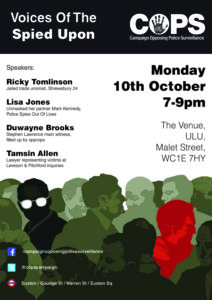 Voices of the Spied Upon October meeting poster