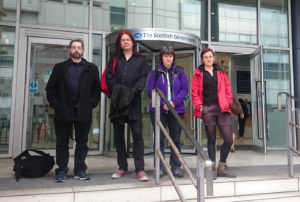 Spycops campaigners at the Scottish Government, Glasgow, 10 May 2017. From left: Donal O'Driscoll, Merrick Cork, Helen Steel & Tilly Gifford