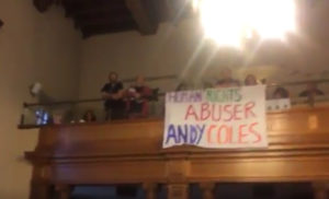 Human Rights Abuser Andy Coles banner