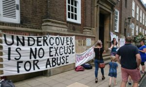 Undercover is no Excuse for Abuse banner outside Peterborough Town Hall, 19 July 2017