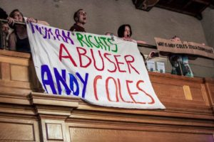 Human Rights Abuser Andy Coles banner, Peterborough Town Hall