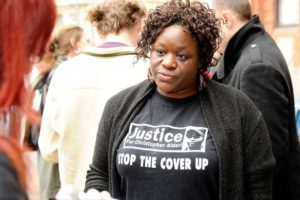 Janet Alder in 'Justice for Christopher Alder: Stop the Cover Up' T-shirt